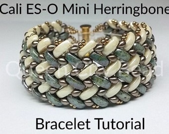 Tutorial-Cali ES-O Mini Herringbone Bracelet, Beaded Bracelet Pattern