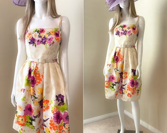 80's Summer Party Dress, Strappy Vintage Floral Dress, Floral Sun Dress, Full Skirt Dress with Tulle, Garden Party Dress - size 10
