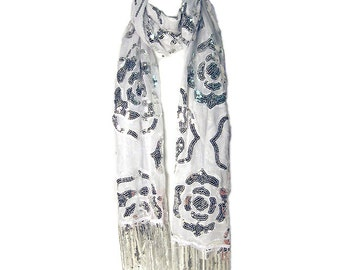 Luxurious White Sequins and Embroidery Fringe Scarf
