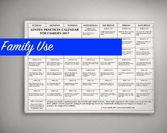 2017 Lenten Practices Calendar for Family Use
