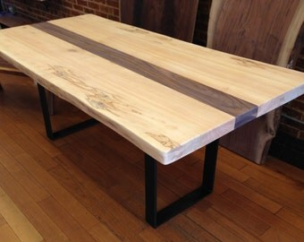 White Maple Live Edge Dining Table - Brooklyn Slab with Walnut Railway - Sale