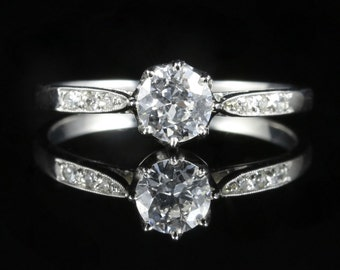 Antique Platinum Diamond Engagement Ring French Circa 1900