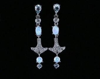 Opal Aquamarine Diamond Long Earrings 18ct White Gold
