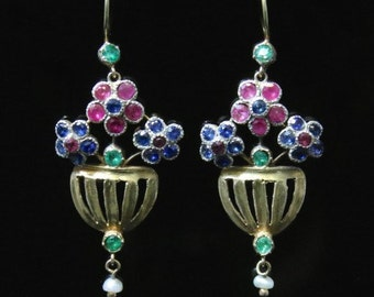 Ruby Sapphire Emerald Pearl Flower Basket Earrings 15ct Yellow Gold