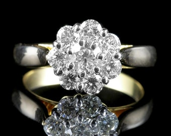 Antique Diamond Cluster Ring 1.40ct 14ct Gold