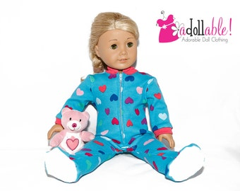 American made Girl Doll Clothes, 18 inch Doll Clothing, Footed Doll Pajamas made to fit like American girl doll clothes