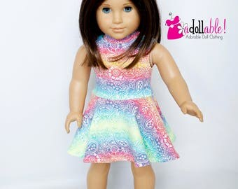 American made Girl Doll Clothes, 18 inch Girl Doll Clothing, Rainbow Paisley Knit Dress made to fit like American girl doll clothes