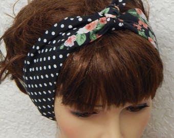 Rockabilly tie up hair scarf, pin up self tie headband, retro hair band, 50's head wrap, vintage style bandanna, cotton headscarf, hairband