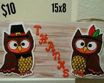 Owl Thanks Sign