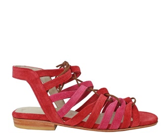 FRANCIS coral & Fuchsia - Sandals Mary - 100% leather - free shipping