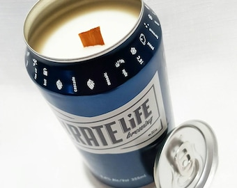 Soy candle with a wood wick. Upcycled Beer Can. Choose your own fragrance
