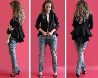 Peplum blazer,Black Blazer,Black fashion jacket,Short black blazer,Elegant jacket,Party blazer