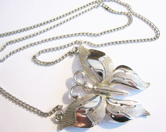 Trifari Silver Tone Butterfly Necklace