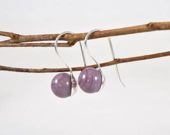 Purple cane earrings / / MURANO / / silver / / handcrafted