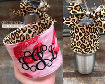 Valentine gift for her, valentines, Hugs and Kisses, Love, Pink Yeti, Monogrammed leopard cup, Leopard Yeti, yeti decal, pink yeti decal