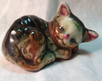 Sleepy Kitty porcelain figurine