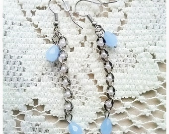SALE,Twist Baby Blue Drop Earrings,Dangle,Light Blue,Glass,Pearl,Chain,Unique,Simple,Delicate,For Her,Gift,Silver,Pretty,Beach,Opal,Bead