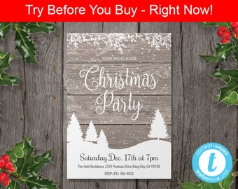 Rustic Christmas Party Invitation Template - Christmas Template - Edit in Our Web App - Printable Rustic Christmas Invitation
