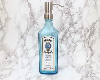 Bombay Sapphire Gin Bottle Soap Pump Dispenser (Water Repellent Label) Upcycled Bottle