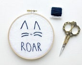 Roar/Cat Embroidery/Cat Lady/Hand Embroidery/Hoop Art/Meow/Handmade Gifts/Wall Decor/Home Decor/Office Decor/Fiber Art/Embroidery Art/Cat