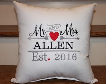 Mr. And Mrs. Pillow Established Pillow, Wedding Pillow, Wedding Gift Ideas,