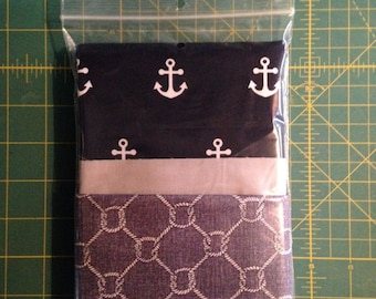 White Anchors on Navy Background, Light Rope on Grey Background Pillowcase Kit, 100% Cotton