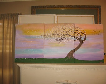 Abstract Tree Painting Textured Wall Art Large Cherry Tree Painting  Custom Painting Textured Painting
