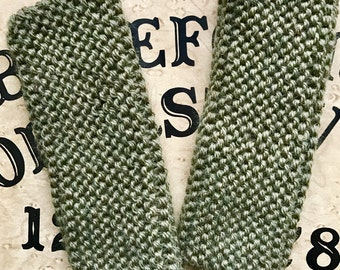 Wool Knit Fingerless Gloves/Arm Warmers - Olive Green/Army Green
