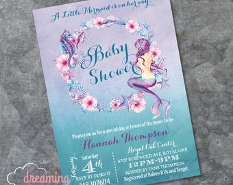 Mermaid Baby Shower Invitation - Mermaid Birthday Invitation