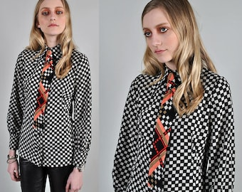 Vintage 1970's Emanuel Ungaro Checkered two tone Tie Blouse Paris s1