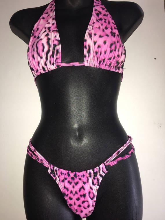 50% OFF*** MissManeater ONEofaKIND sliding long halter top + thin bind strap sliding boutique bikini pant *** BRAZILIAN cut!