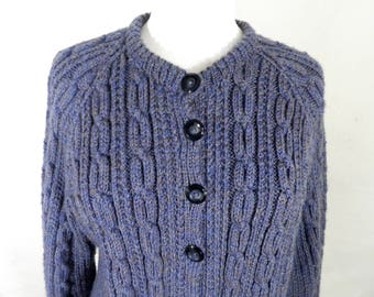 Vintage Heathery Blue / Purple Hand Knit Cable Knit Cardigan   Size M  Classic   100% Wool