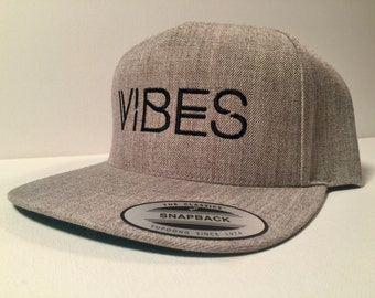 VIBES SnapBack Hat in Lite-Heather Grey with Black Embroidery