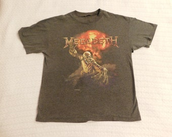 Vintage Megadeth 1987 Shirt Graysih Color Distressed Very Worn And Thinning Medium or Large Check Measurements