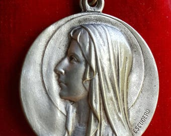 Vintage French Blessed Mother Mary Medal Blessed Virgin Our Lady Religious Catholic Jewelry Art Nouveau First Communion Gift Medal