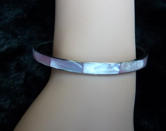 SALE Inlaid Mother of Pearl Bracelet Pink Bracelet Pink and White Bracelet Silver Tone Metal Thin Bangle Bracelet Vintage Bracelet EUC