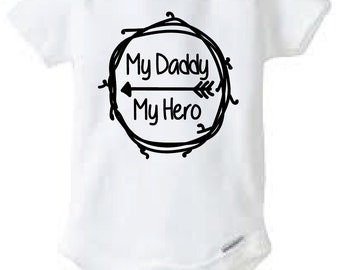 My Daddy My Hero Baby Onesie Design, SVG, DXF, EPS Vector files for use with Cricut or Silhouette Vinyl Cutting Machines