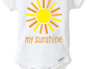 My Sunshine Baby Onesie Design, SVG, DXF, EPS Vector files for use with Cricut or Silhouette Vinyl Cutting Machines