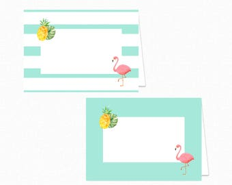 Flamingo Food Tent Labels - Flamingo Food Tents - Printable Party Food Labels - Flamingo Place Cards - Flamingo Pineapple