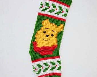 PATTERN -Winnie The Pooh Christmas Stocking - Inspired by Winnie the Pooh film, Crochet Pattern, pdf