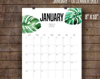 "2017 Wall Calendar, Tropical Calendar, Luau calendar, Printable Monthly Calendar, Printable Calendar, 8"" x 10"" files ~ C105"