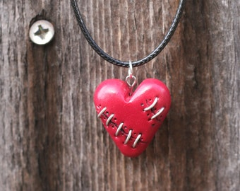 Stitched Heart Necklace , Broken Heart Necklace, Emo Heart