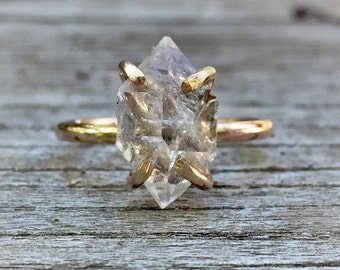 Diamond Crystal Point ring, Herkimer Diamond Ring,Raw Diamond Crystal Engagement Ring, 14k gold filled prong setting, Conflict Free