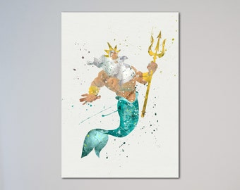 The Little Mermaid King Triton Ariel's father Poster Princess Ariel Watercolor Print Kids art Nursery Art express fast delivery