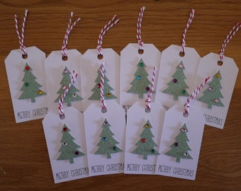 Handmade Christmas gift tags, present tags, Gift Wrapping Pack of 10 - choose from Christmas Trees, Baubles, Snowflakes, Holly or Stars