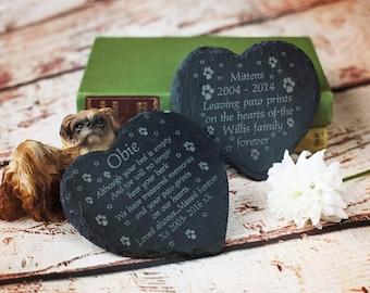 Remembrance rustic Pawprints slate heart grave marker. Any wording. Memorial for your pet. pet keepsake. pet loss.  pet grave marker.