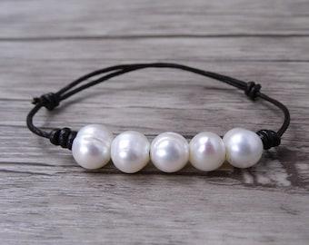 Real Pearl Bracelet Leather wrap bracelet boho Pearl bracelet freshwater pearl wrap bracelet Leather pearl bracelet Pearl Jewelry SL-0509
