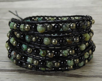agate bracelet African turquoise beads bracelet pyrite beads bracelet black agate beads bracelet 5 waps bracelet boho beaded braceletSL-0435