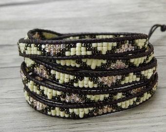 Boho Bracelet Leather wrap bracelet Grey bead wrap bracelet OM seed bead bracelet 5 wraps leather bracelet yoga bracelet jewelry SL-0411