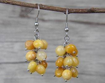 Boho Earrings Beads Earrings Yellow Agate Beads Earrings Gemstone Earrings Drop Beads Earrings Yelow Beads Earrings ED-036